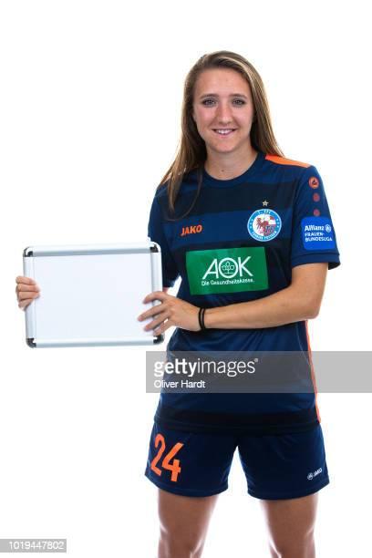 Lara Prasnikar of Turbine Potsdam poses during the Allianz Frauen Bundesliga Club Tour at on August 17 2018 in Potsdam Germany