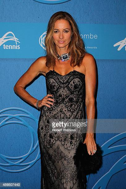 Lara Rafter arrives at the 2014 Newcombe Medal Awards at Crown Palladium on November 24 2014 in Melbourne Australia
