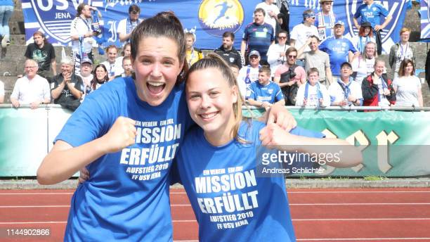 Lara Schmidt and Susann Utes of USV Jena celebrate during the 2 Frauen Bundesliga match between 1 FC Saarbruecken and FF USV Jena on May 19 2019 in...