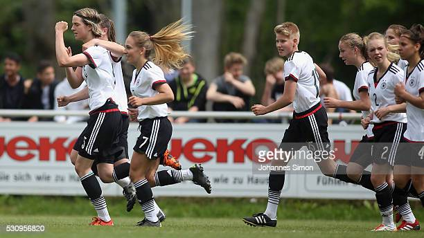 Lara Schmidt of Germany celebrates with team mates after scoring her team's 2nd goal during the U16 girl's international friendly between U16 girl's...