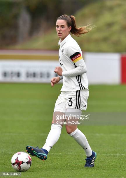 Lara Schmidt of Germany during the UEFA Women's Under 19 Group 9 Euro Qualifier at Shamrock Park between Northern Ireland and Germany on October 8,...