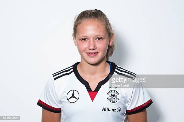 Lara Schmidt of Germany poses during the U16 Girl's Germany Team Presentation on June 21 2016 in Malente Germany