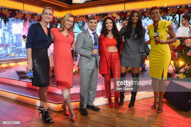 Lara Spencer Ginger Zee George Stephanopoulos Halsey Ciara Robin Roberts pose during the 2017 American Music Awards nominations announcement at Good...
