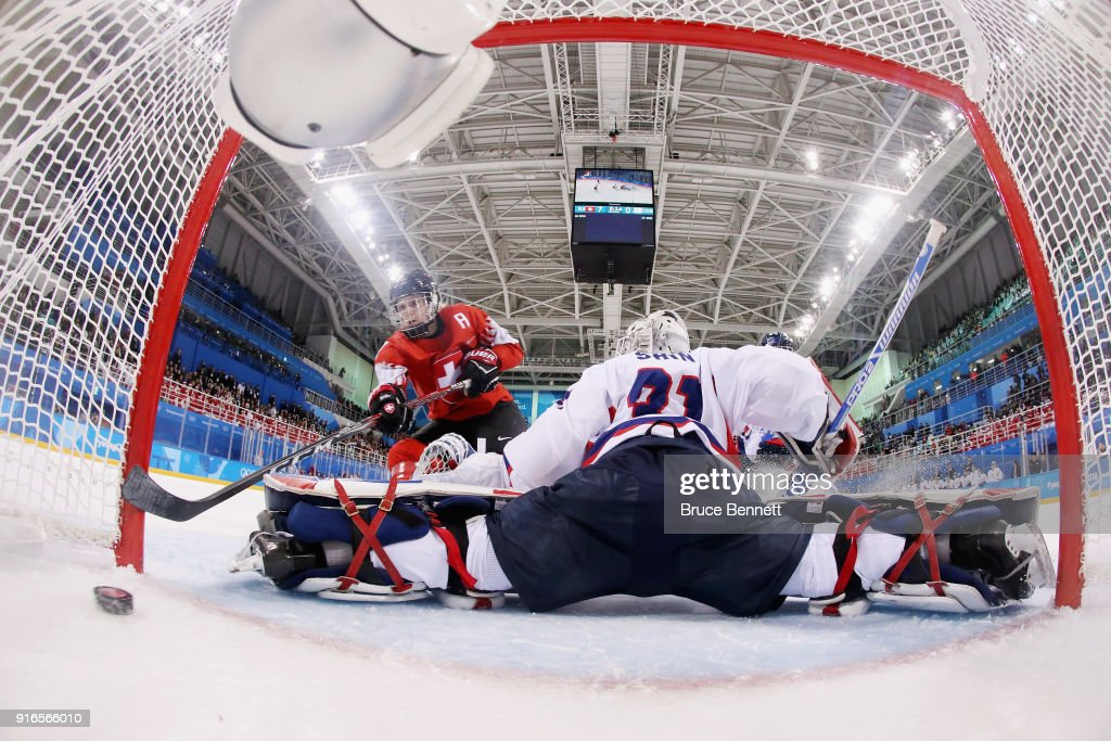 Lara Stalder #7 of Switzerland scores a goal against So Jung Shin #31 of Korea in the third period during the Women's Ice Hockey Preliminary Round - Group B game on day one of the PyeongChang 2018 Winter Olympic Games at Kwandong Hockey Centre on February 10, 2018 in Gangneung, South Korea.