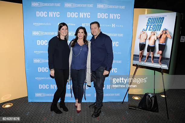 Lara Stolman Chris Laurita and Jacqueline Laurita attend the New York premiere of 'Swim Team' at DOC NYC on November 17 2016 in New York City
