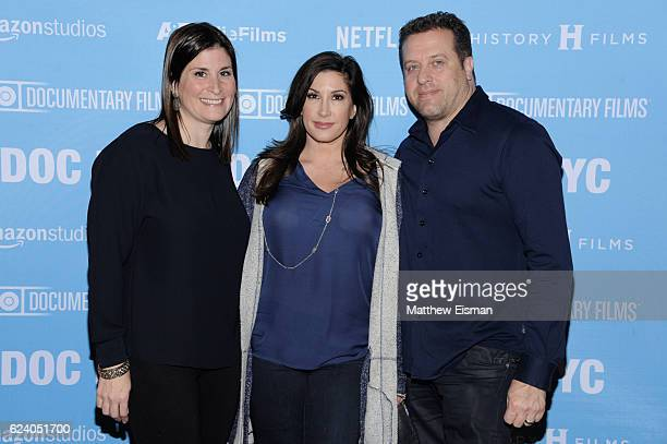 """Lara Stolman, Chris Laurita and Jacqueline Laurita attend the New York premiere of """"Swim Team"""" at DOC NYC on November 17, 2016 in New York City."""