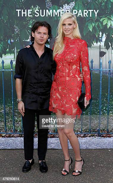 Lara Stone and Christopher Kane arrive at The Serpentine Gallery summer party at The Serpentine Gallery on July 2, 2015 in London, England.