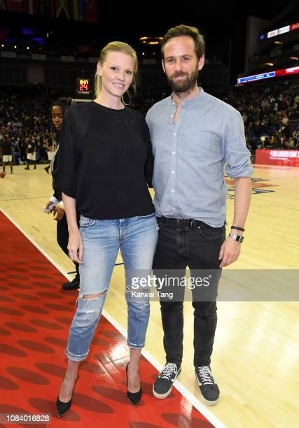 Lara Stone and David Grievson attend the Washington Wizards vs New York Knicks game at The O2 Arena on January 17 2019 in London England
