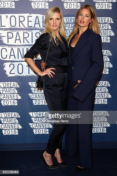 Lara Stone and Doutzen Kroes attend the L'Oreal Paris Blue Obsession Party at the annual 69th Cannes Film Festival at Hotel Martinez on May 18 2016...