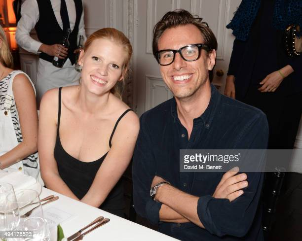 Lara Stone and Erik Torstensson attend the FRAME Denim dinner hosted by Hanneli Mustaparta at Il Bottaccio on May 28 2014 in London England