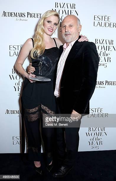 Lara Stone and Sam McKnight attend the Harper's Bazaar Women of the Year Awards 2015 at Claridges Hotel on November 3 2015 in London England