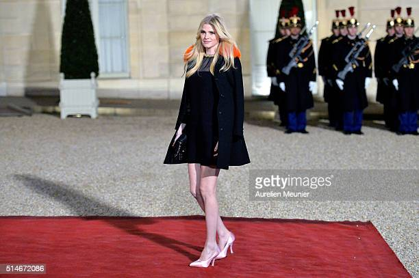 Lara Stone arrives at The State Dinner in Honor Of King Willem-Alexander of the Netherlands and Queen Maxima at Elysee Palace on March 10, 2016 in...