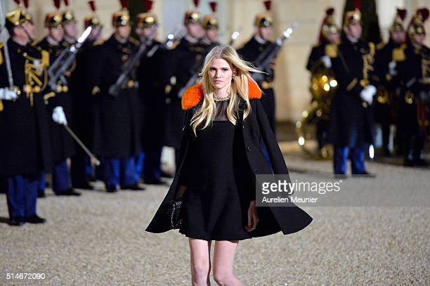 Lara Stone arrives at The State Dinner in Honor Of King WillemAlexander of the Netherlands and Queen Maxima at Elysee Palace on March 10 2016 in...