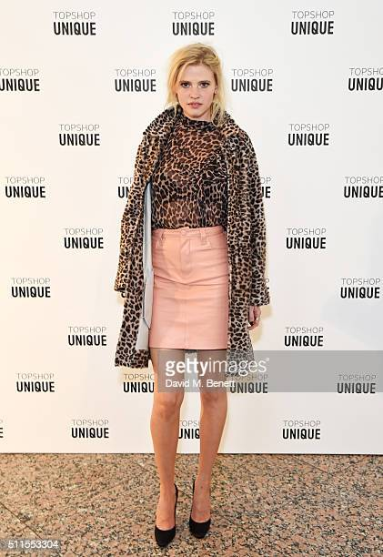 Lara Stone arrives at the Topshop Unique LFW AW16 show at The Tate Britain on February 21 2016 in London England