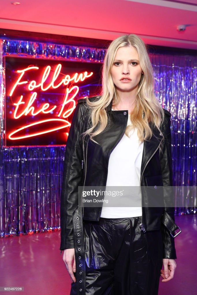 Lara Stone attends ELIZABETH SULCER X MISS SIXTY on February 21, 2018 in Milan, Italy.