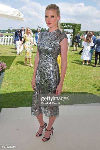 Lara Stone attends the Cartier Queen's Cup Polo final at Guards Polo Club on June 18 2017 in Egham England