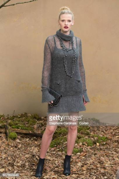 Lara Stone attends the Chanel show as part of the Paris Fashion Week Womenswear Fall/Winter 2018/2019 on March 6, 2018 in Paris, France.