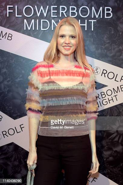 Lara Stone attends the launch party to celebrate Viktor & Rolf new scent Flowerbomb Midnight at London on April 04, 2019 in London, England.