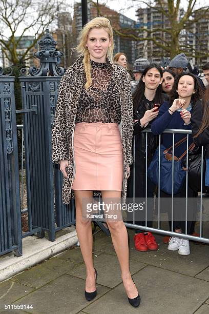 Lara Stone attends the Topshop Unique show during London Fashion Week Autumn/Winter 2016/17 at Tate Britain on February 21 2016 in London England