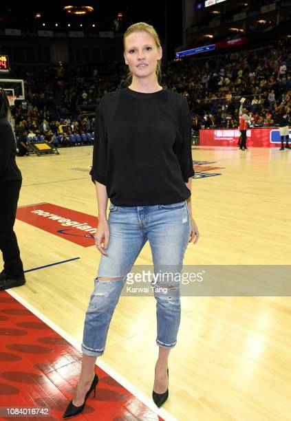 Lara Stone attends the Washington Wizards vs New York Knicks game at The O2 Arena on January 17 2019 in London England