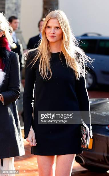 Lara Stone attends the wedding of Arabella Musgrave and George GalliersPratt at St Paul's Church Knightsbridge on February 8 2014 in London England