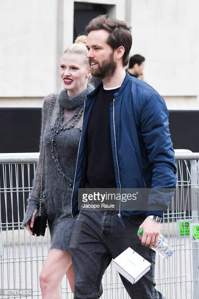 Lara Stone is seen arriving at Chanel Fashion Show during the Paris Fashion Week Womenswear Fall/Winter 2018/2019 on March 6 2018 in Paris France
