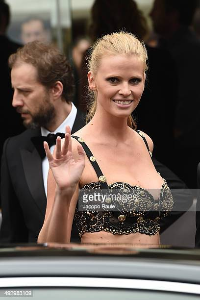 Lara Stone is seen leaving Hotel Martinez on day 9 of the 67th Annual Cannes Film Festival on May 22, 2014 in Cannes, France.