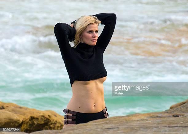 Lara Stone is sighted during a Mario Testino photoshoot on Bondi Beach on January 20 2016 in Sydney Australia