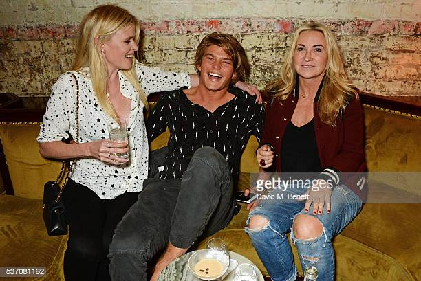 Lara Stone Jordan Barrett and Meg Mathews attend the launch of the Kate Moss For Equipment x NETAPORTER collection at The Chiltern Firehouse on June...