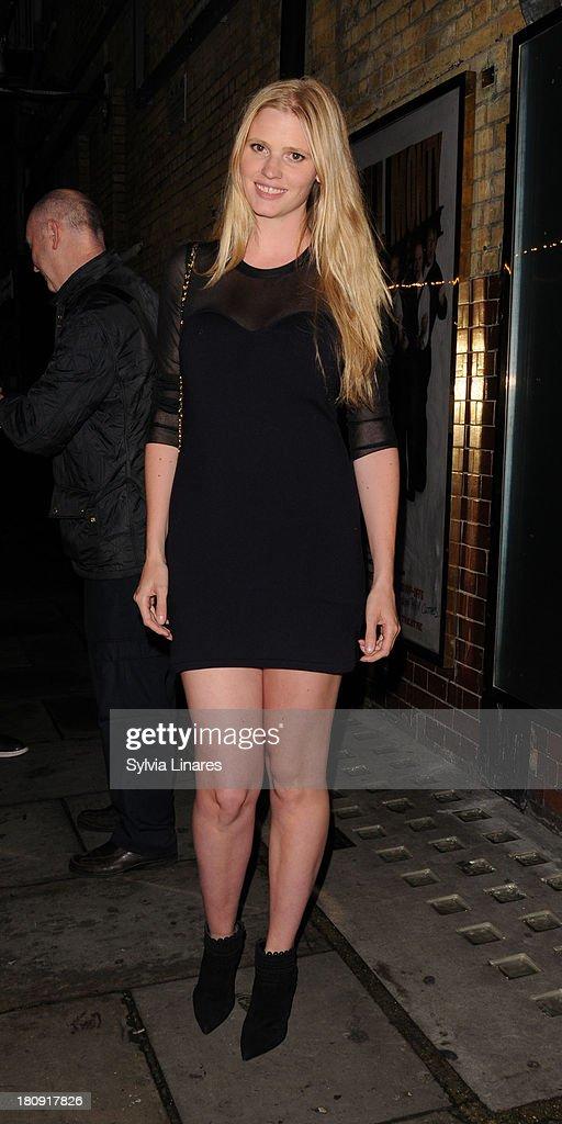 Lara Stone leaving Noel Coward Theatre on September 17, 2013 in London, England.