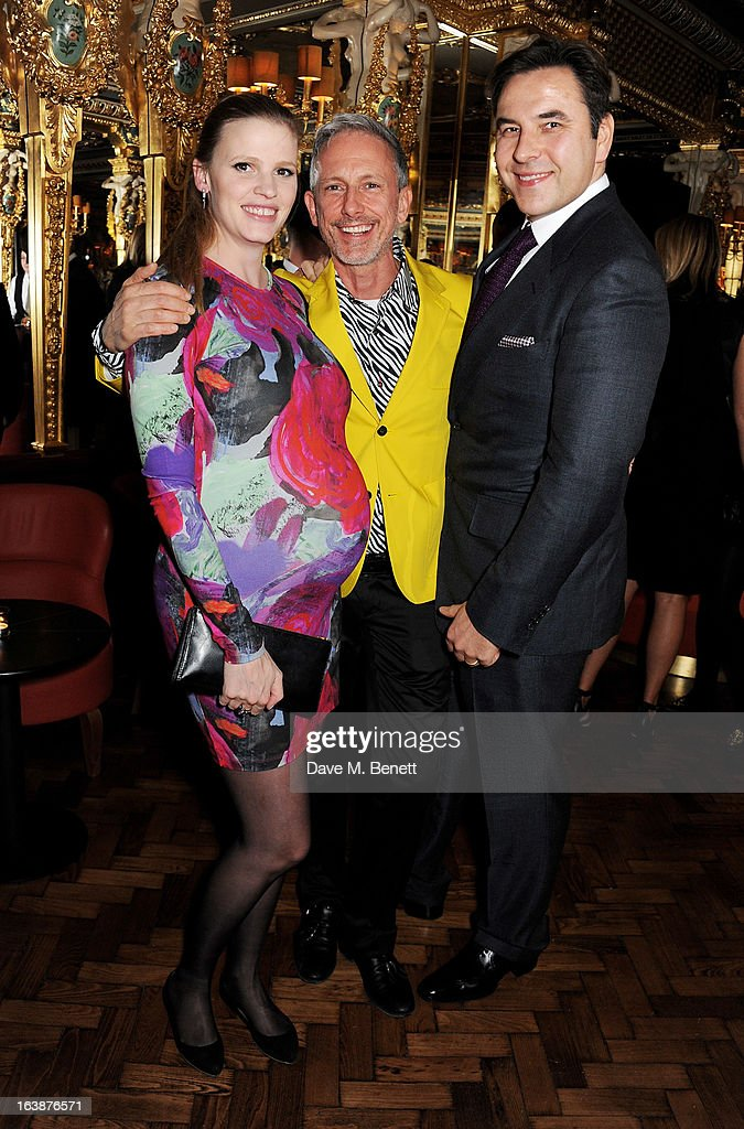 Lara Stone, Patrick Cox and David Walliams attend a drinks reception celebrating Patrick Cox's 50th Birthday party at Cafe Royal on March 15, 2013 in London, England.