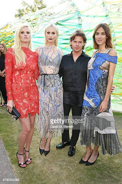 Lara Stone, Poppy Delevingne, Christopher Kane and Alexa Chung attend The Serpentine Gallery summer party at The Serpentine Gallery on July 2, 2015...