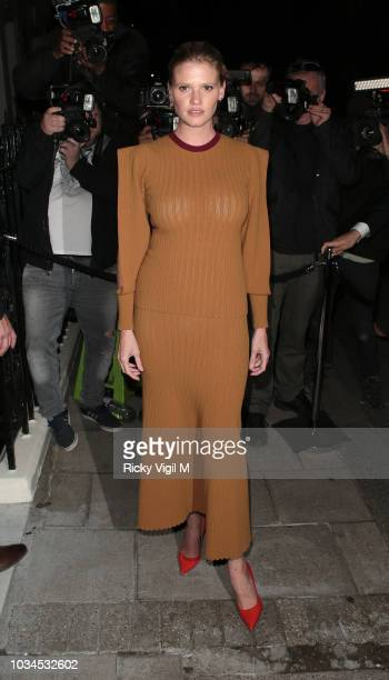 Lara Stone seen attending s/s 2019: Vogue X Victoria Beckham - party at Mark's Club during London Fashion Week September 2018 on September 16, 2018...
