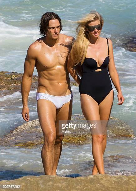 Lara Stone strikes a pose during a Mario Testino photoshoot on Bondi Beach on January 20 2016 in Sydney Australia