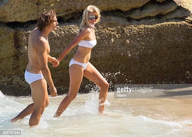 Lara Stone strikes a pose during a Mario Testino photoshoot on Bondi Beach on January 20, 2016 in Sydney, Australia.
