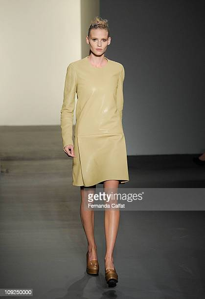 Lara Stone walks the runway at the Calvin Klein Fall 2011 fashion show during MercedesBenz Fashion Week at 205 West 39th Street on February 17 2011...