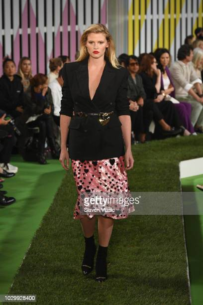 Lara Stone walks the runway at the Escada show during New York Fashion Week on September 9 2018 in New York City