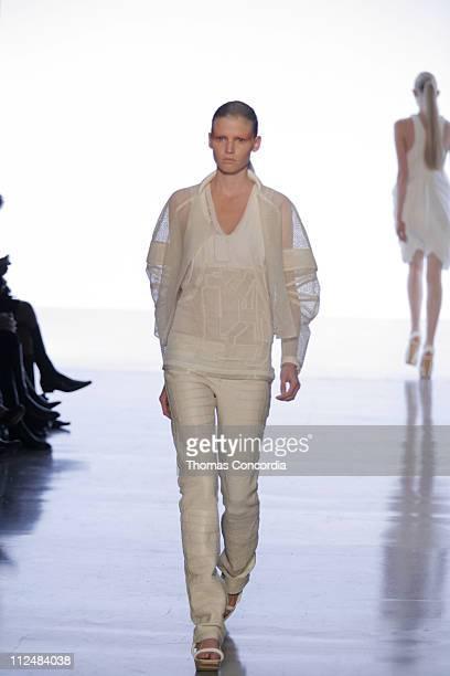 Lara Stone wearing Calvin Klein Spring 2007 during Olympus Fashion Week Spring 2007 - Calvin Klein - Runway at 205 West 39th Street in New York, New...