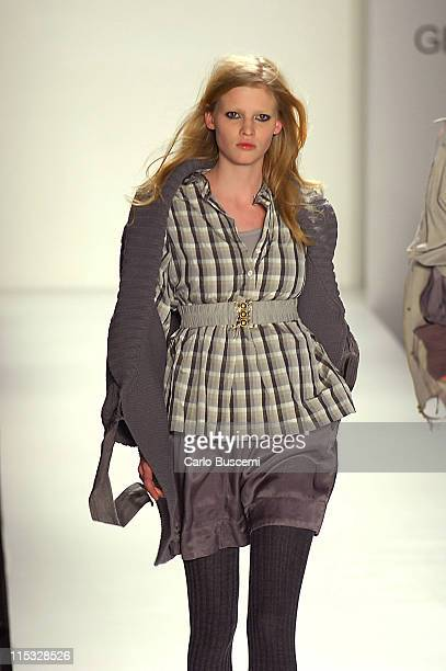 Lara Stone wearing Generra Fall 2007 during MercedesBenz Fashion Week Fall 2007 Generra Runway at The Salon Bryant Park in New York City New York...