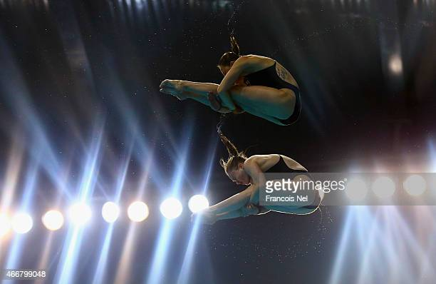 Lara Tarvit and Melissa Wu of Australia dives in the Women's 10m Synchro Platform Final during day one of the FINA/NVC Diving World Series 2015 at...