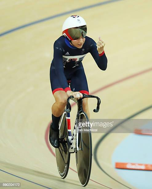 Lara Trott of Great Britain competes in the Flying Lap during The Women's Omnium at Rio Olympic Velodrome on August 16, 2016 in Rio de Janeiro,...