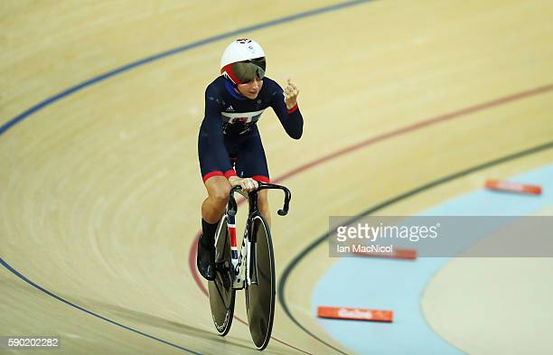 Lara Trottof Great Britain competes in the Flying Lap during The Women's Omnium at Rio Olympic Velodrome on August 16, 2016 in Rio de Janeiro, Brazil.