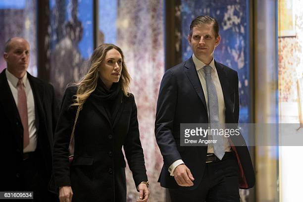 Lara Trump and Eric Trump arrive at Trump Tower January 13 2017 in New York City Presidentelect Trump continues to hold meetings at Trump Tower in...