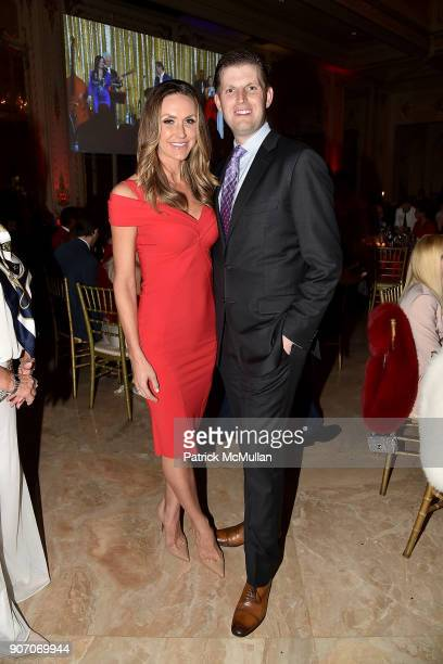 Lara Trump and Eric Trump attend President Trump's one year anniversary with over 800 guests at the winter White House at MaraLago on January 18 2018...