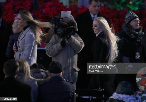 Lara Trump and Tiffany Trump attend the National Christmas Tree lighting ceremony held by the National Park Service at the Ellipse near the White...