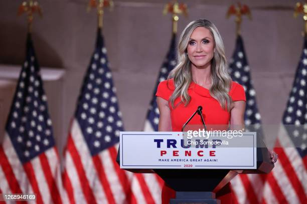 Lara Trump daughterinlaw and campaign advisor for US President Donald Trump prerecords her address to the Republican National Convention from inside...