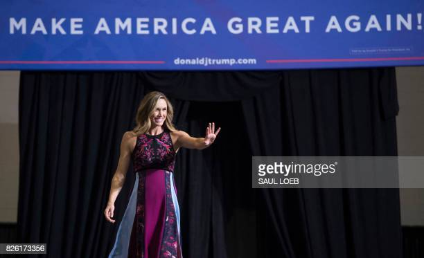 Lara Trump daughterinlaw of US President Donald Trump arrives during a Make America Great Again Rally at Big Sandy Superstore Arena in Huntington...