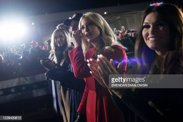 Lara Trump, Senior Advisors Jared Kushner and Ivanka Trump, Kimberly Guilfoyle, and others clap for US President Donald Trump during his final Make...
