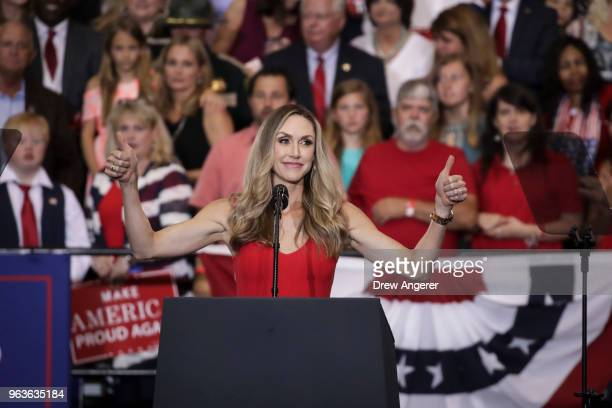 Lara Trump speaks prior to the arrival of US President Donald Trump during a rally at the Nashville Municipal Auditorium May 29 2018 in Nashville...