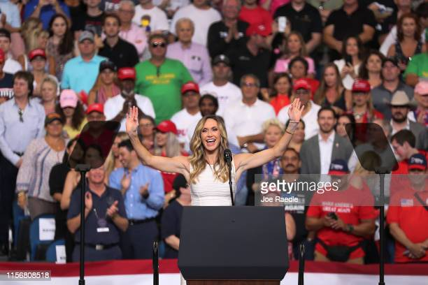 Lara Trump takes to the stage before her fatherinlaw United States President Donald Trump arrives on stage to announce his candidacy for a second...